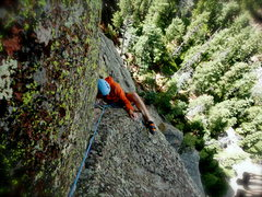 Rock Climbing Photo: Kenny P. heel hooking towards solid ground.