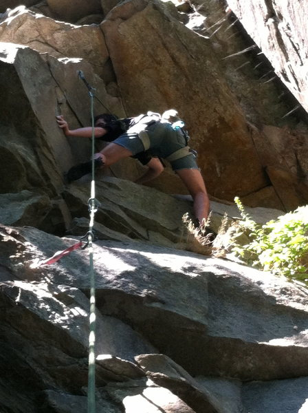 Rock Climbing Photo: getting into the crux moves
