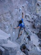 Rock Climbing Photo: pulling first moves on a fun 10a in Owens River Go...