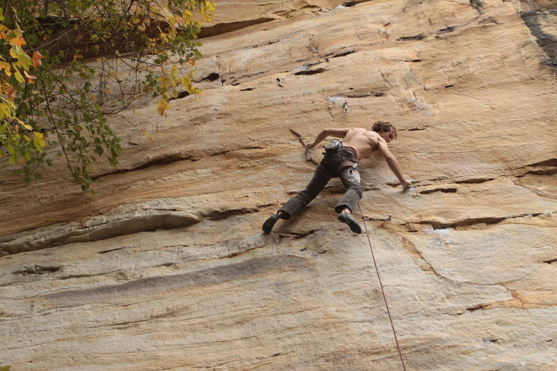 Rock Climbing Photo: Moving through the sustained thin compression wood...