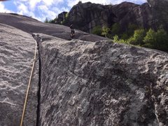 Climbing the crux corner towards Bobs knob