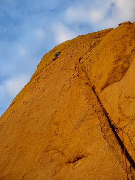 Rock Climbing Photo: Andy on the first pitch during a fall sunset