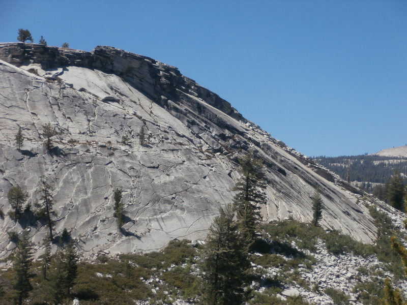 North Side of the East Face of Punk Rock.  Mambo #5 ascends the shallow crack/seam about 50ft right of Bambi and the Orge.