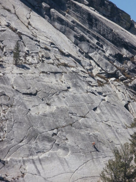 Rock Climbing Photo: Third ascent leader on crux friction of Mambo #5