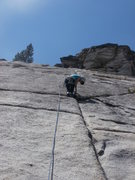 Rock Climbing Photo: Julie Brenner starting crux friction section on Ma...