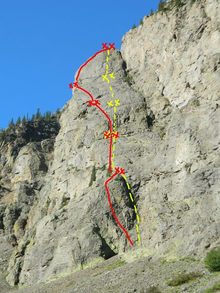 I tried to show the general flow of the route. Red is climbing, yellow is rappelling. Sorry if I'm off by a little bit.