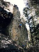 Rock Climbing Photo: John Ross, mid onsight. (Nikon PL510)