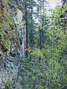Rock Climbing Photo: Myself, working through the crux.  Photo by Perin ...