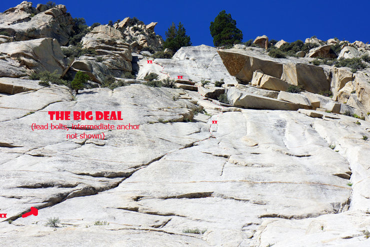 The Big Deal - route and belays (lead bolts and intermediate belay not shown)