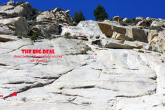 Rock Climbing Photo: The Big Deal - route and belays (lead bolts and in...