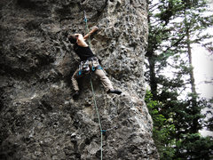 Rock Climbing Photo: Clark, trying to beat the clock on a puzzling sequ...