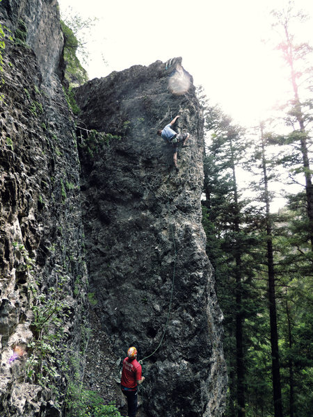 Rock Climbing Photo: Bram, almost in the clear. One move later he broke...