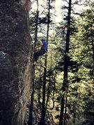 Rock Climbing Photo: John, cleaning on his way down. (Nikon PL510)