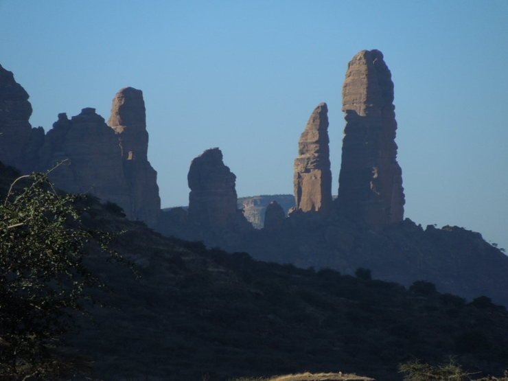 The Koraro Spires with the tallest Sheba on the far right and the obvious pointy one to its left being The Sharp One.