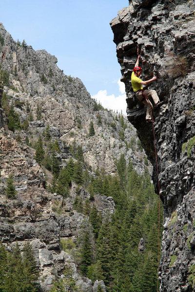Rock Climbing Photo: Perin Blanchard near the crux on Firefly.  Photo b...