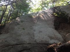 Rock Climbing Photo: Pale Blue Eyes (5.10-) starts at the crescent flak...