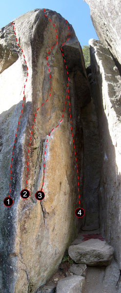 Great Chimney Area (Left). Click for High Resolution version.<br> <br> (1) Bat Crack Left (5.10+),<br> (2) Bat Crack Right (5.10+),<br> (3) Bat Roof (5.9),<br> (4) Bat Roof Direct (5.11)<br> <br> The Great Chimney (5.4) stems between the right and left walls. The 20' tall Triscuit Rock can be seen on the right-hand side of the photo.