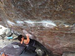 Rock Climbing Photo: Ray making his way along the Crimp Ladder