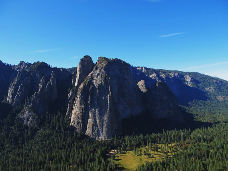 Rock Climbing Photo: Lower & Higher Cathedral Spires, Higher Cathedral ...