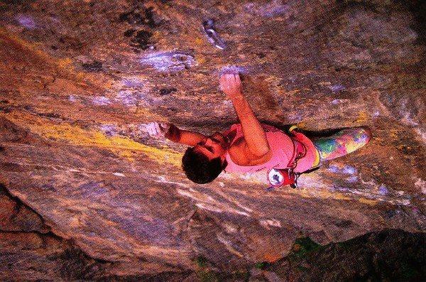 Rock Climbing Photo: Kurt Smith working Interstellar Overdrive (5.13d),...