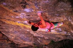 Rock Climbing Photo: Kurt Smith working Interstellar Overdrive (5.13d),...