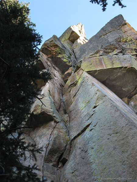Rock Climbing Photo: Looking up the first pitch from the base of the ro...