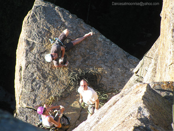 Rock Climbing Photo: The spacious belay atop P1.