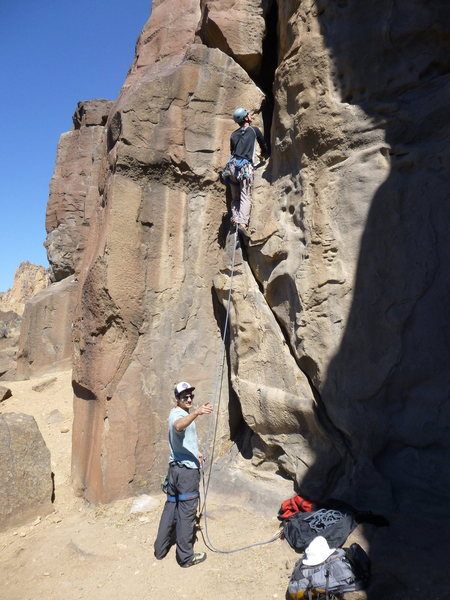 Ryan starts up Bad Manners at the Textbooks on Student Wall at Smith Rock