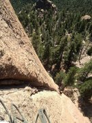 Rock Climbing Photo: Looking down from atop P1. We belayed before the t...