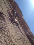 Rock Climbing Photo: Just past the 1st traverse on the start of P2. I t...