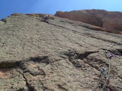Rock Climbing Photo: Luke heading up the stellar, and continuous, P2. C...