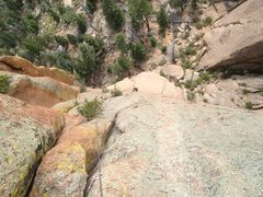 Rock Climbing Photo: Looking down from atop P2. The bushes detract some...