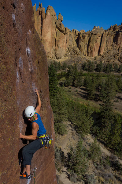 Sean moving through the crux on JT's route