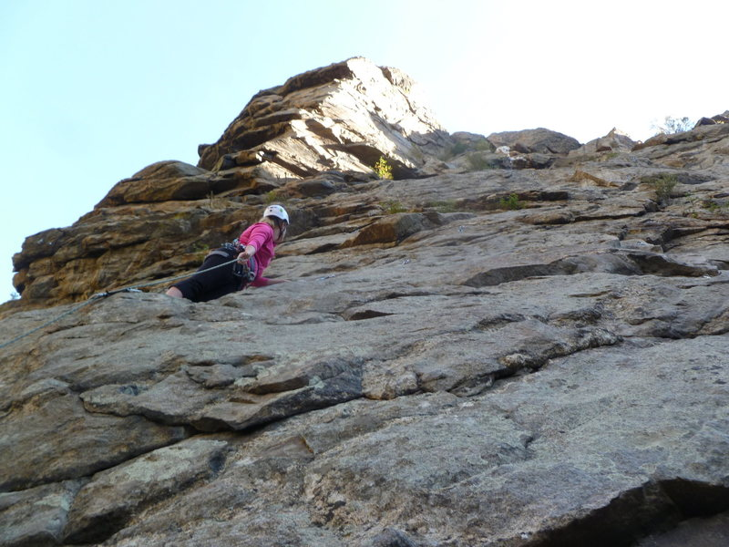 Rock Climbing Photo: Low on the route.  Angie or Angela?