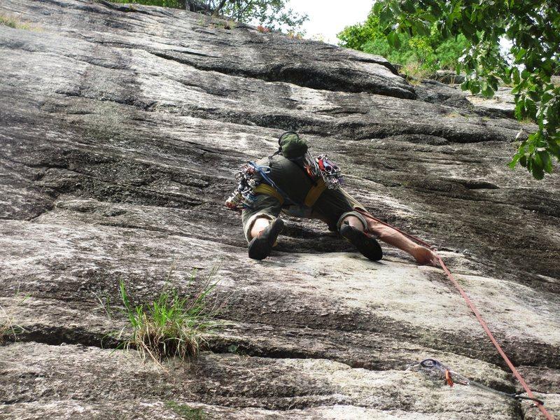 Rock Climbing Photo: butt shot at the crux