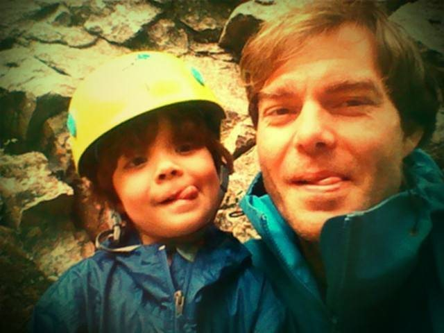 Waiting out the rain at our new secret crag