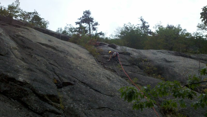 Rock Climbing Photo: Jon leading the first pitch