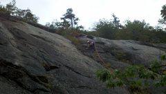 Rock Climbing Photo: Jon leading the first pitch