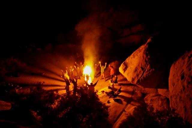 Winter stump fire in Joshua Tree