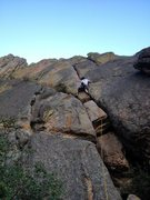 Rock Climbing Photo: J. Webster past the fun roof, entering the tough h...