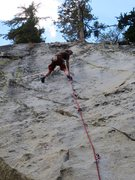 Rock Climbing Photo: Passing the crux on the first ascent of Faithful F...