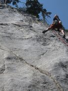 Rock Climbing Photo: Approaching the crux shallow groove on the first a...