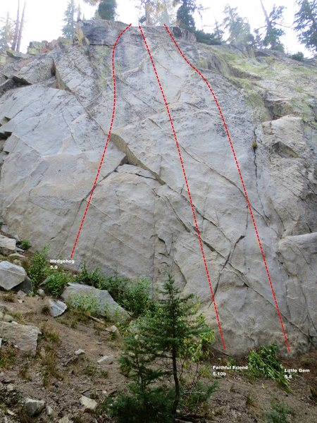 Rock Climbing Photo: Sunshine Wall Main Slab Topo