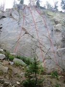 Rock Climbing Photo: Sunshine Wall Main Slab Topo