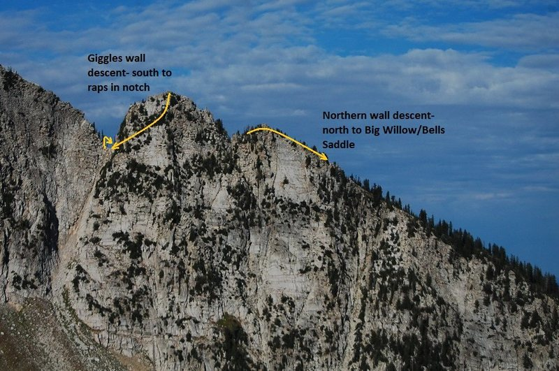 A view of the backside of BWC- might help visualize the descent to the 'southern notch' and avoid the extra rap into the notch.