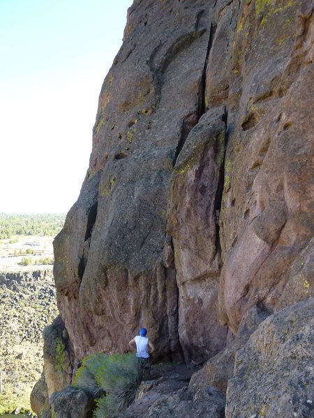 Rock Climbing Photo: Luis below Stroke of Brilliance.  The route starts...