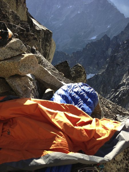 Excellent bivy protected from the wind and featuring amazing sunrise views at the top of the Gendarme