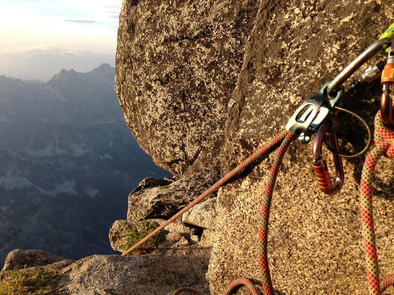 Belaying on the Gendarme while the sun set.