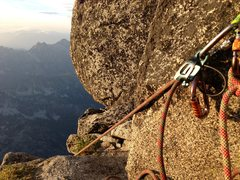 Rock Climbing Photo: Belaying on the Gendarme while the sun set.