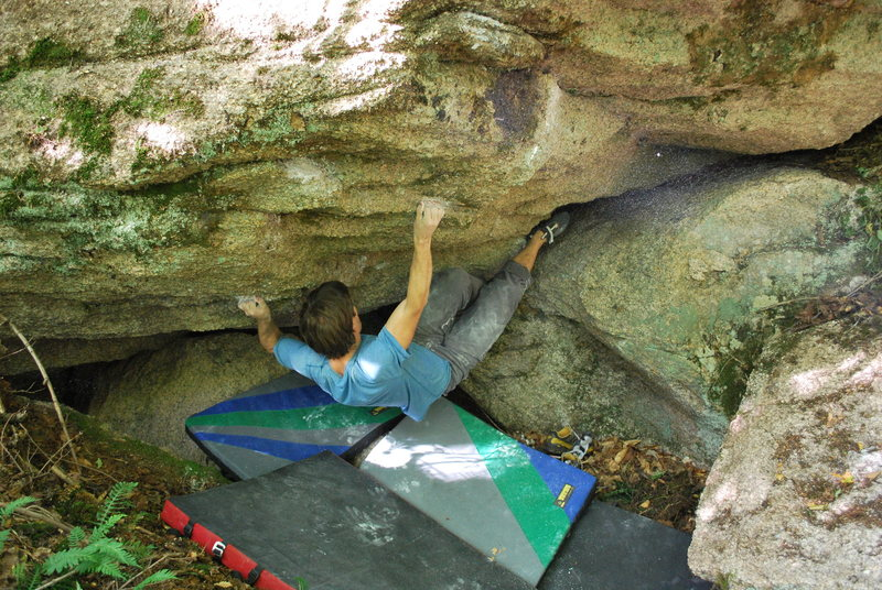 Just after the first move. The right boulder is off, but my heel is not as close to it as it looks.